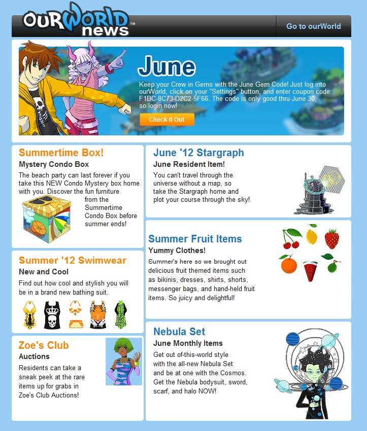 Monthly Newsletter | Ourworld Monthly Newsletter June 2012 Ourgemcodes
