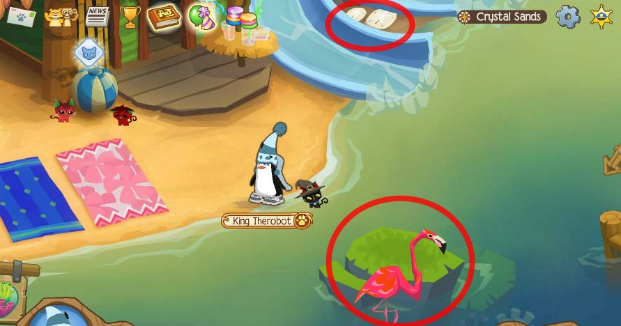 Image of: Glitch Sanddollarandflamingo Ourgemcodes Animal Jam Crystal Sands Journey Book Locations Ourgemcodes