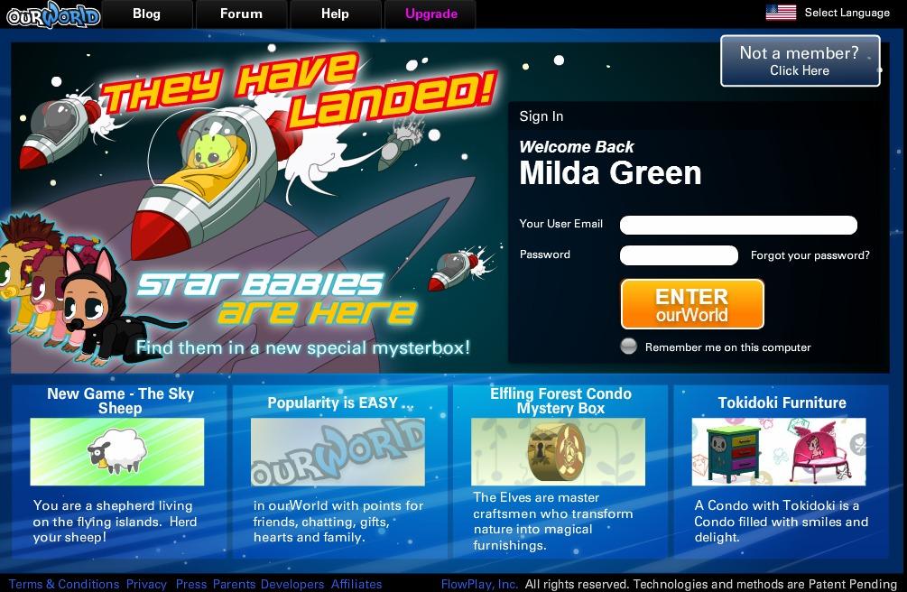 babies log in screen