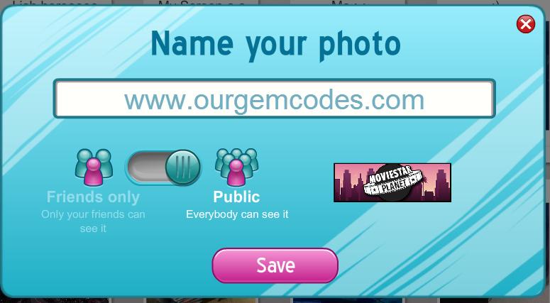 MovieStarPlanet: Name your Photo